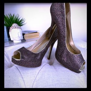 Express Sparkly Gold Glitter Peep Toe Pumps